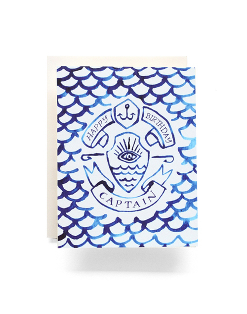 Indigo Captain Birthday Greeting Card