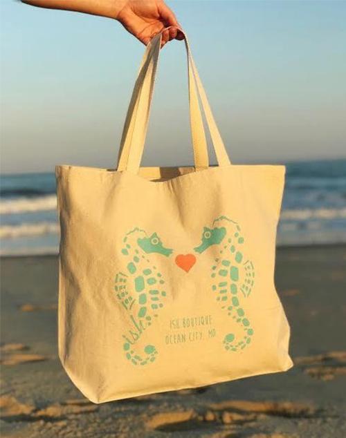 Kissing Seahorse Tote Bag- XL
