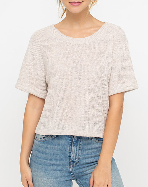 Round Neck Cuffed Short Sleeve Knit Top