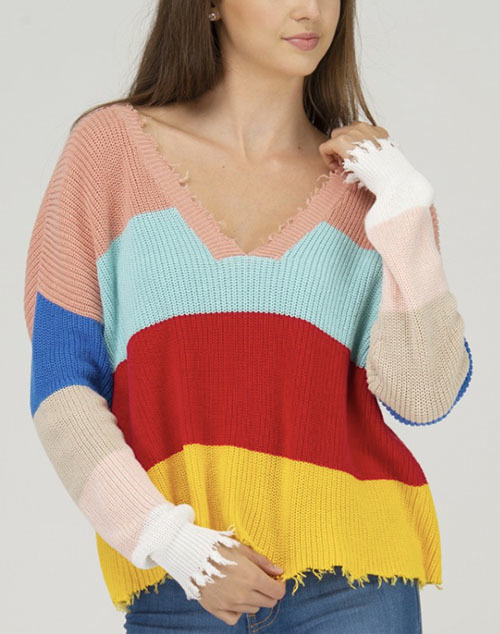 Distressed V Neck Color Block Sweater
