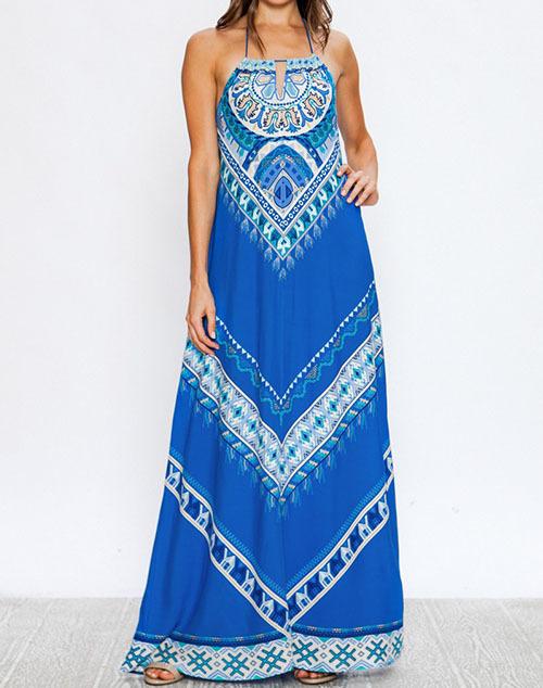 Piece Print Halter Maxi Dress