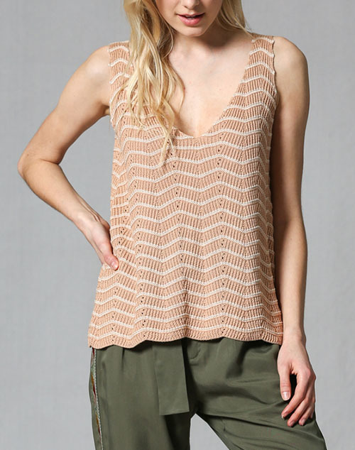 Chevron Pattern V Neck Sweater Tank