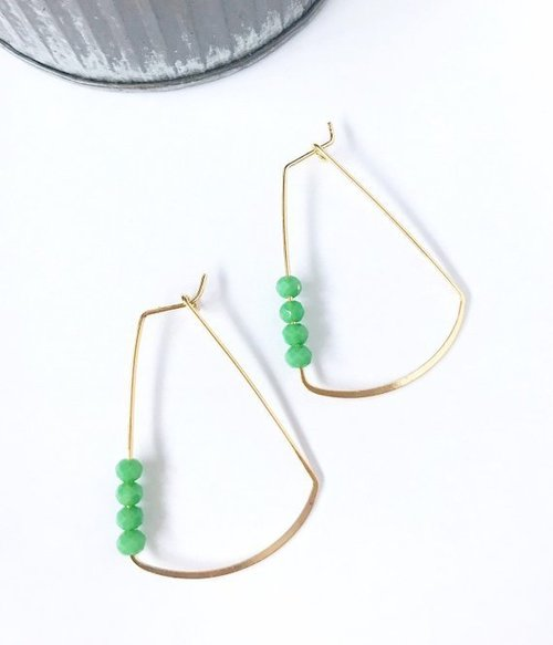 Jillian Made Beaded Trapezoid Jade Earring