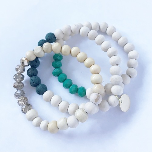 Jillian Made Wood Color Block Jade Bracelet Set of 3