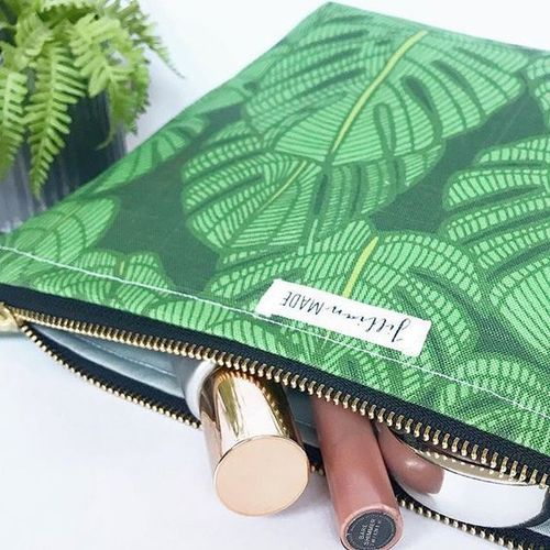 Jillian Made Modern Palm Large Cosmetic Bag