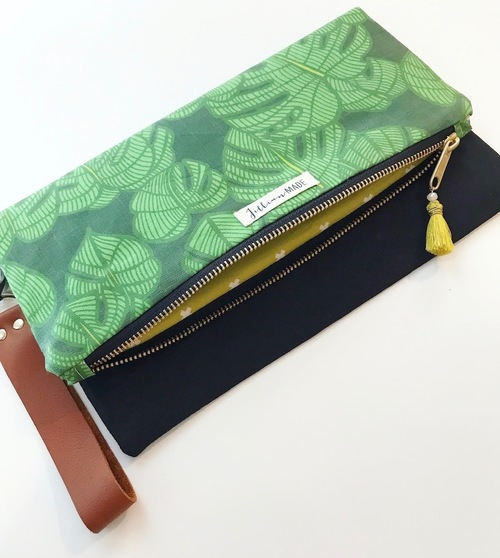 Jillian Made Palm Print w/ Black Clutch
