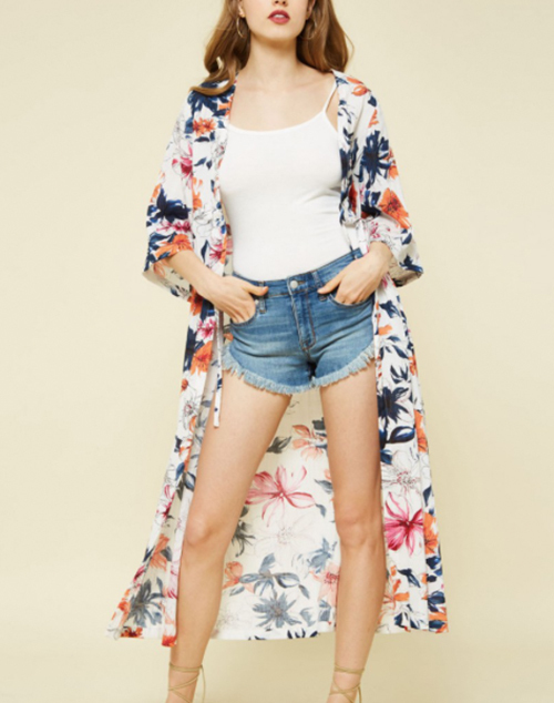 Long Open Floral Kimono With Waist Tie