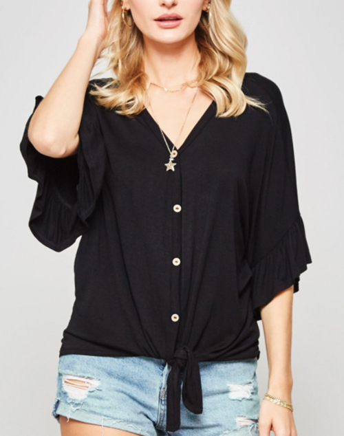 Dolam Sleeve Ruffle Hem Button Down Top
