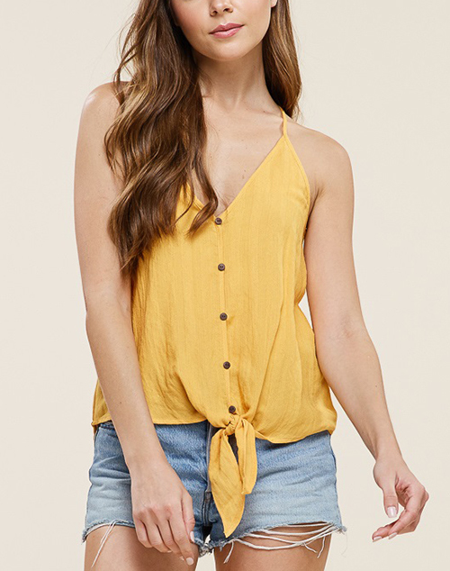 V Neck Button Down Tie Front Racer Back Tank Top