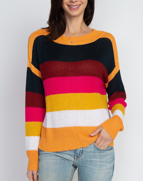 Orange Multi Stripe Knit Sweater