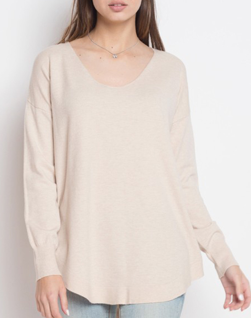 High Low Lace Up Back Sweater