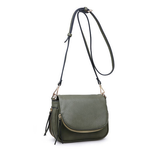 Diva Zipper Cross Body Bag Olive