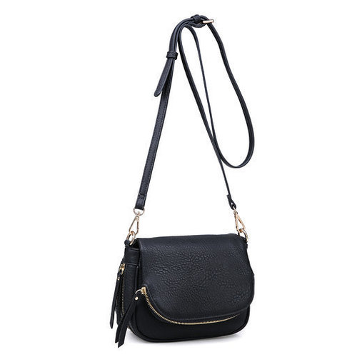Diva Zipper Cross Body Bag Black