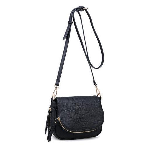 Diva Zipper Cross Body Bag Black