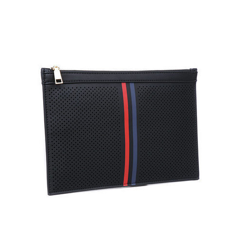 Frenchie Zip Striped Clutch Black