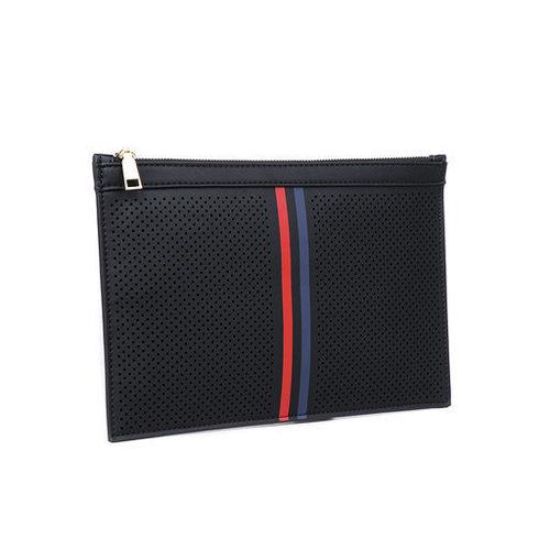 Frenchie Zip Striped Clutch Black