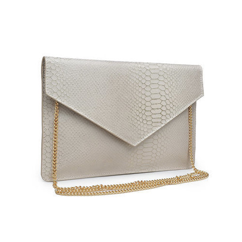 Romy Fold Over Print Clutch Cream