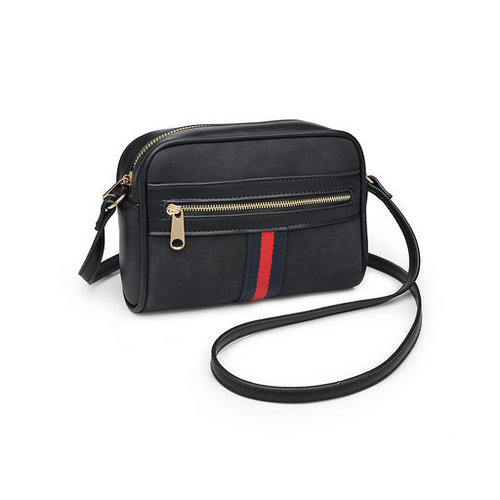 Julia Striped Cross Body Bag Black