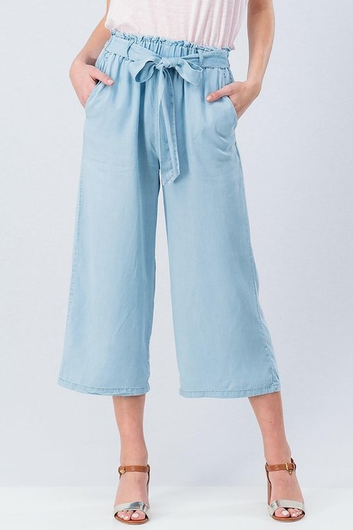Chambray Paper Bag Capri