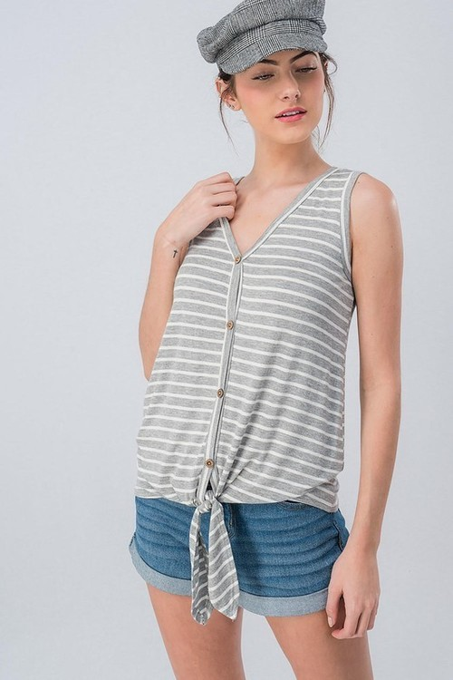 Grey Stripe Tie Front Sleeveless Button Down