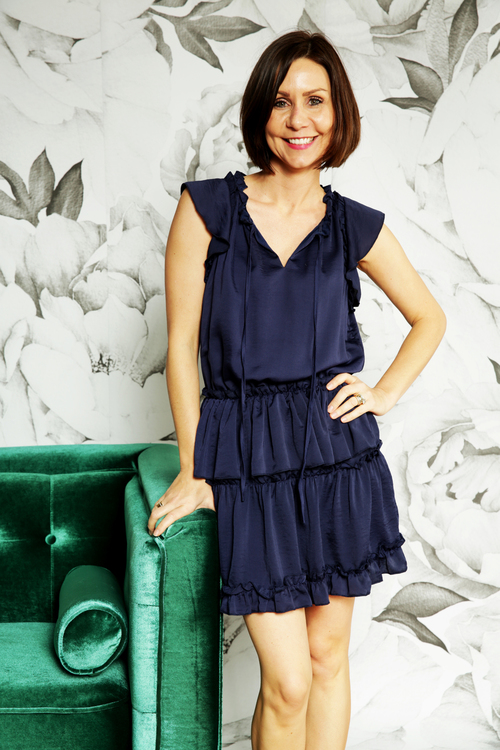 Navy Layered Ruffle Dress