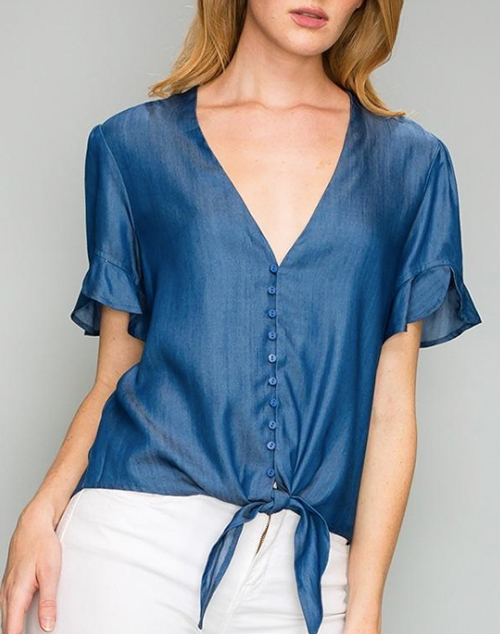 Tencel Button Down Tie Top