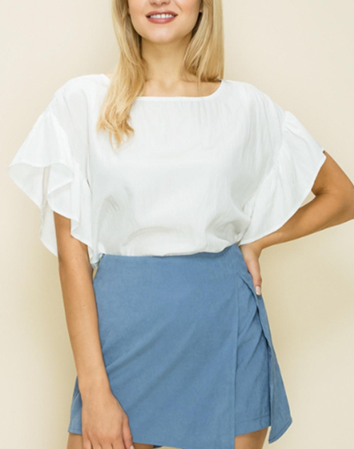 Solid Ruffle Sleeve Box Top