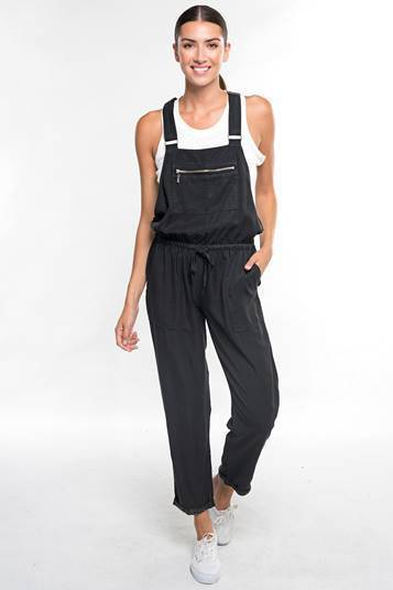 Black Tencel Drawstring Overalls