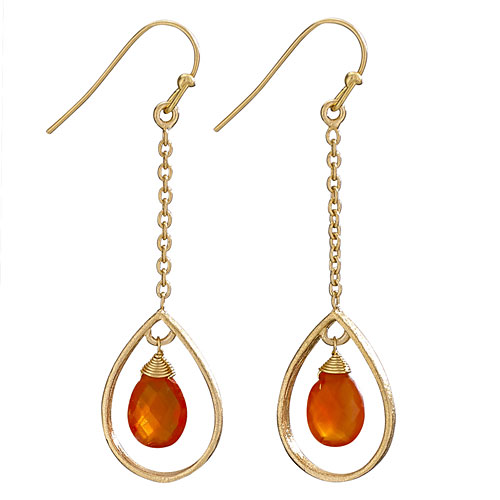 Gold Oval Drop with Carnelian