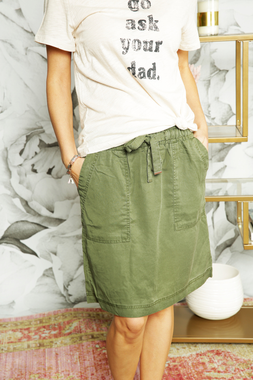 Olive Paperbag Tie Skirt