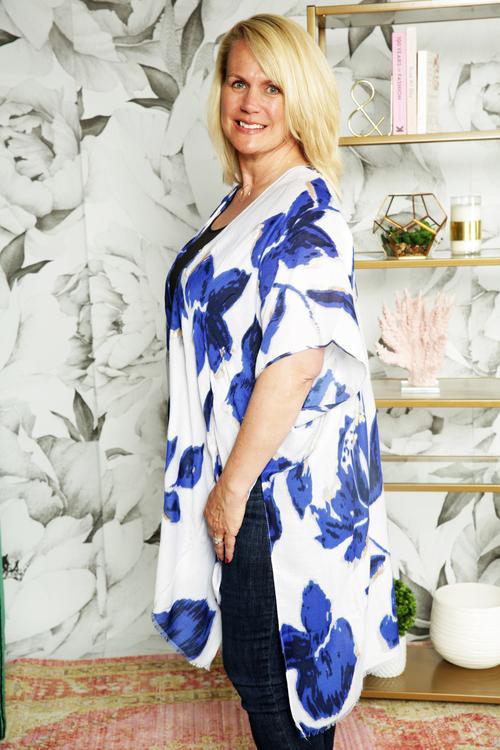 Blue & Gold Printed Kimono