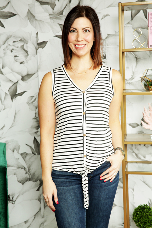 White Stripe Tie Front Sleeveless Button Down