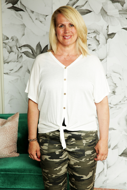 Ivory Waffle Tie Front Top
