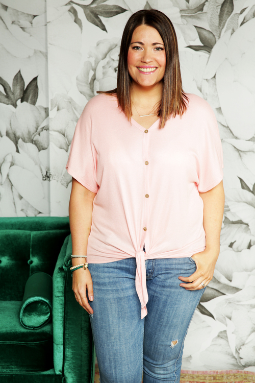 Blush Waffle Tie Front Top