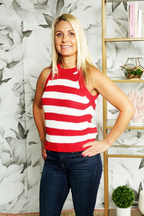 Red Stripe Sweater Tank