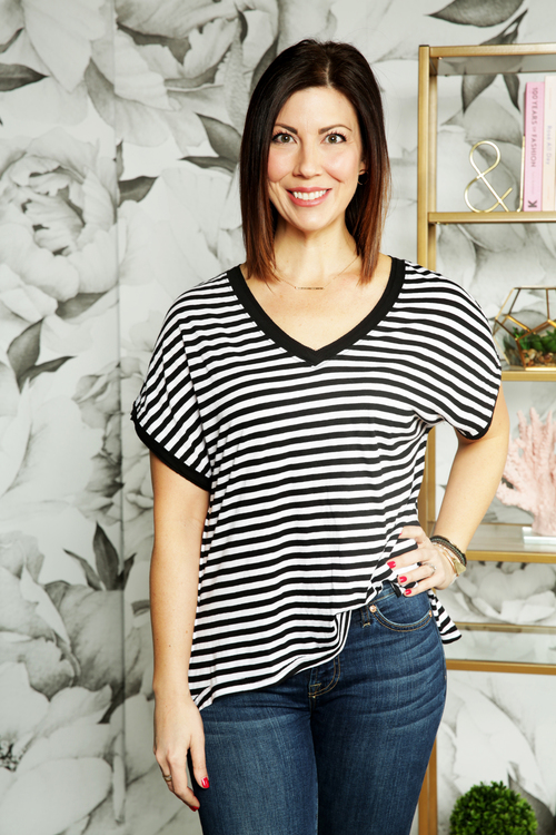 The Stripe Boyfriend V Neck Tee