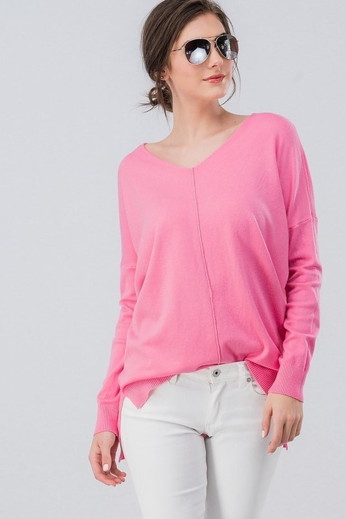 Hot Pink High Low Tunic Sweater