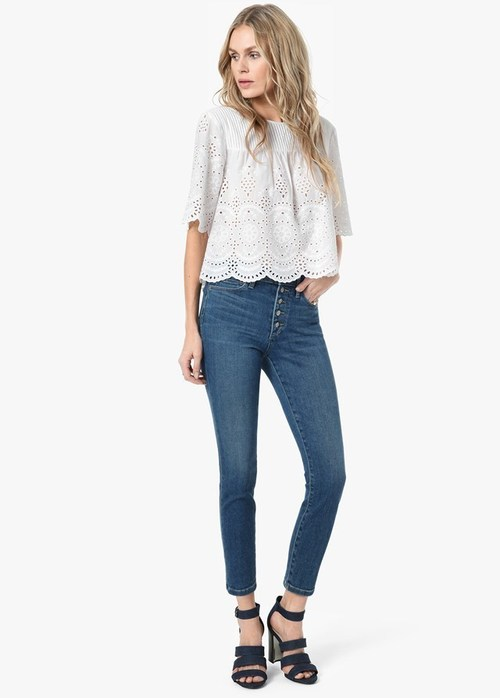 Joe's Exposed Button Charlie High Rise Skinny Crop Nessa