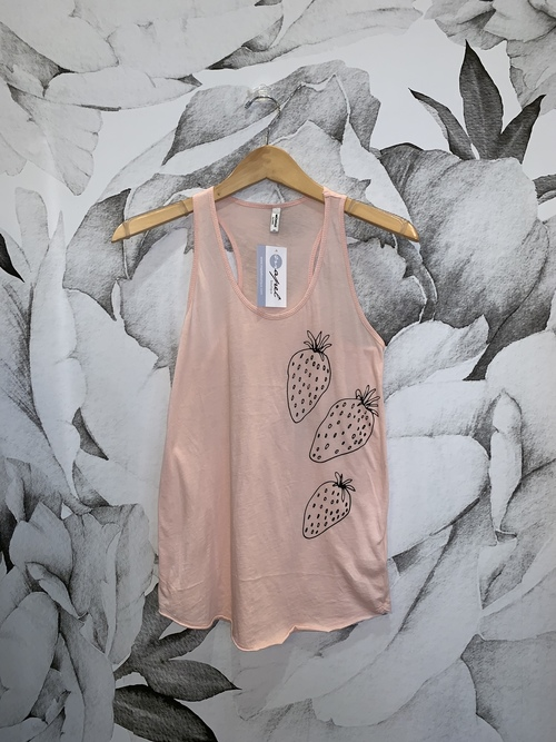 Pink Strawberry Graphic Tank