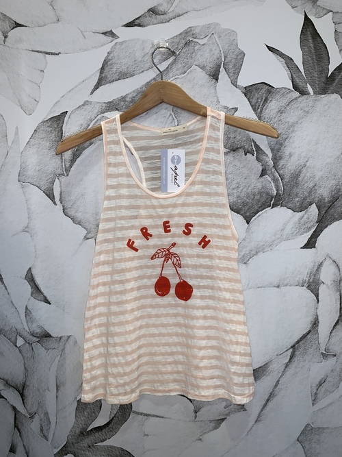 Cherries Graphic Striped Tank