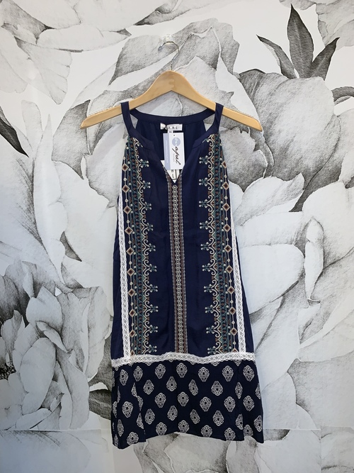 Lace & Embroidery Navy Dress