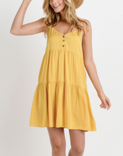 Button Down Front Cancan Dress