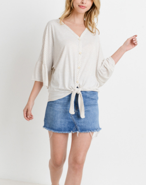 Striped Button Down Ruffled Sleeve Top