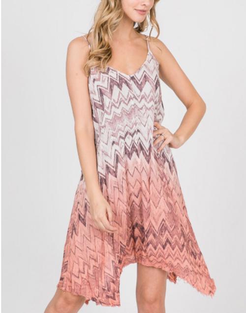 Chevron Print Ombre Dyed Dress