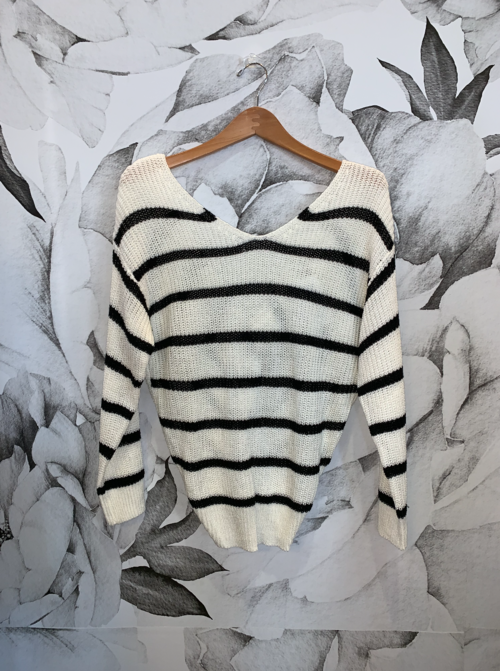 White Black Stripe Knot Back Sweater