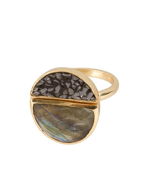 Lava Ring Labradorite & Black Diamond 18K Plated