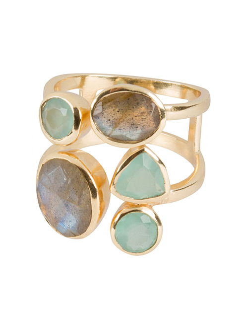 Labradorite & Aqua Multi Ring 18K Plated