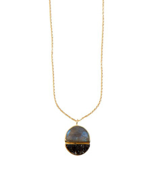 Lava Necklace Labradorite & Black Diamonds 18K Plated