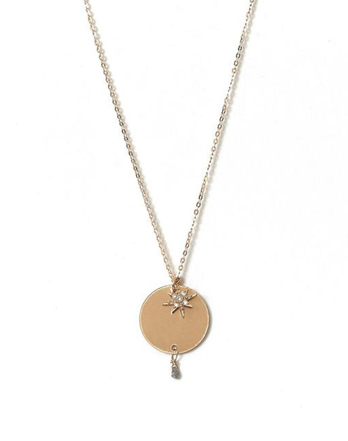 Long Eclisse Diamond Necklace 14K Gold Filled