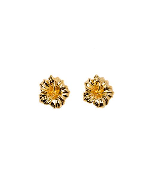 Aloha Hibiscus Stud Earring Gold